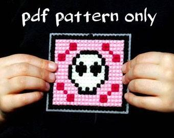 Kids Cross Stitch Pattern Pink Skull PDF