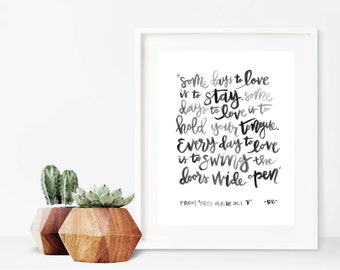 To Love // A4 Calligraphy Poetry Line Print