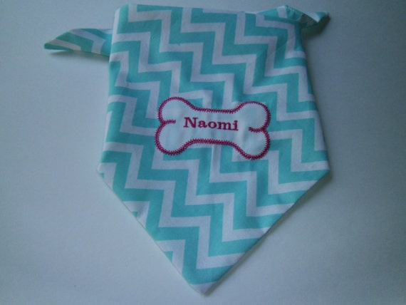 Dog Bandana, Teal and Pink, Tie On, Dog Bone, Embroidery,  Pet Gift,  Dog Collar, Monogrammed, Embroidery