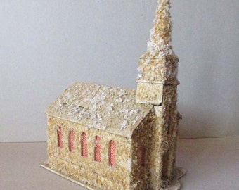 Vintage Christmas Old Putz Church To Light Up Circa 1940s