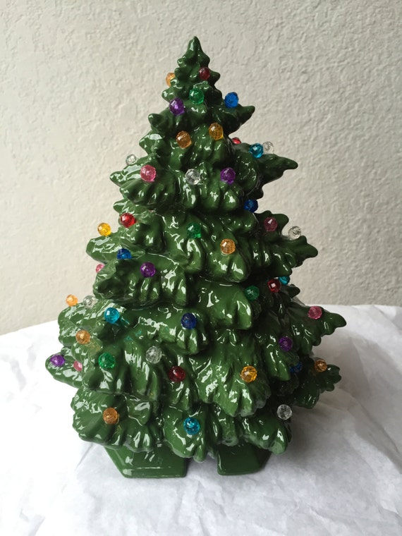 Christmas small ceramic green tree with multi colored lights