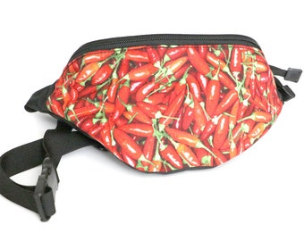 Fanny pack Red Chili Pepper fabric  - Hip Waist Bag with 2-zippered compartments