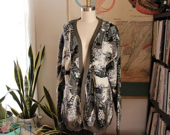 1980s 90s cardigan mens tall medium large . abstract design by Megalos . unisex sweater