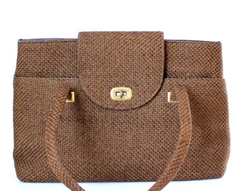 1960s purse . large brown tweed bag . vintage carpet bag . large handbag 60s