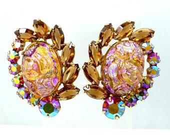 Juliana Oval Coated Irregular Baroque Rose Quartz D & E Clip on Earrings