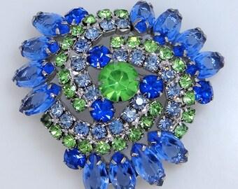 Nice Blue & Green Swirls Rhinestone Pin