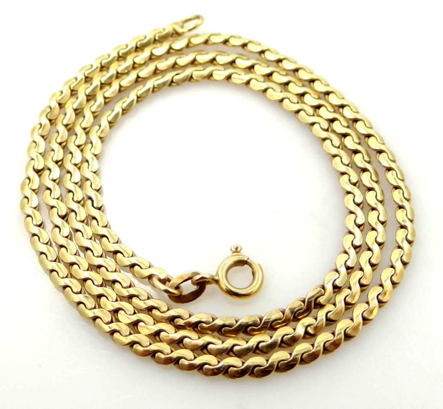 14k Solid Gold THICK Serpentine Necklace or Chain  14k Solid Gold ...