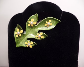 1960's Enameled Leaf with Flowers Brooch