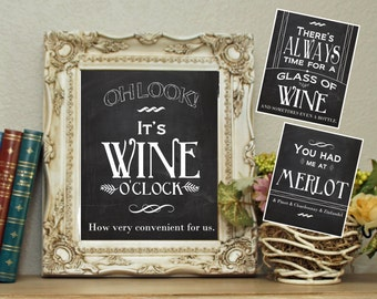 Set of 3 Wine Prints Printable Wall Art Decor Photo Digital File Download Humor Runny Quote