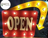 """Marquee style sign with arrow lighted """"OPEN"""" sign, Made in Iowa"""