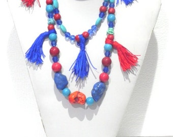 BOHO Terquoise ,coral,tassel Necklace/ Holiday Gift Pack Beaded Boho Jewelryfree ship