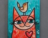 "8x10 Acrylic Cat Painting - ""Thom"""
