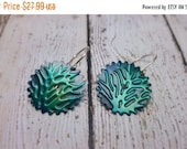 ON SALE Gear Earrings, Green Earrings, Tree of Life Earrings, Gifts for Her, Embossed Jewelry, Steampunk Jewelry, Unique Green Earrings