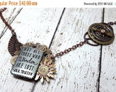 ON SALE Not All Those Who Wander Are Lost Necklace, Steampunk Tolkien, JRR Tolkien Jewelry, Quote Jewelry, Compass Jewelry, Lord of The Ring