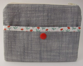 Red Flora Linen Snap and Zip Pouch