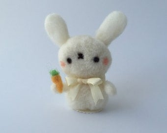 Bunny with Carrot of Needle Felted Wool