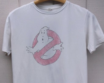 80s Ghost Busters Tee Shirt / White Vintage Distressed T-Shirt // Sz Lge