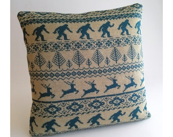 In the Woods - Forest Icons Fairisle Pillow - Loom Knit Cotton/Linen - Canvas & Teal - Portland Oregon - Bigfoot - Sasquatch - Stag Deer