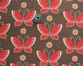 REMNANT Red Butterfly Print Quilting Cotton