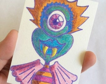 Original ACEO Collectible Card - Colored Pencil Sketch Monster Drawing - Angel Baby