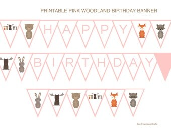 Woodland BIRTHDAY PARTY Banner | Printable Birthday Party Bunting |  Pink - PDF File