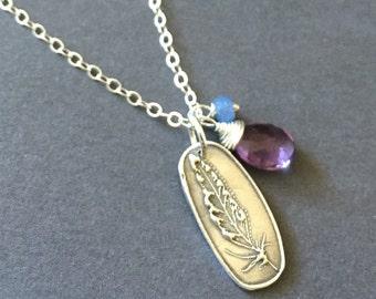 Float, Sapphire, Amethyst, Fine Silver, Sterling Silver Charm Gemstone Necklace, erinelizabeth