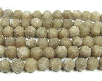 Clay Jade Matte Round Gemstone Beads