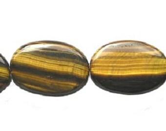 Tiger Eye Puffed Oval Gemstone Beads