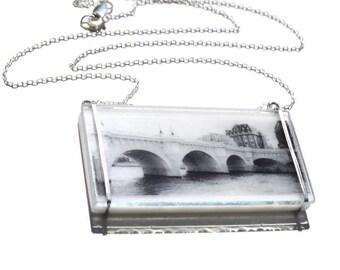 Glass Bridge Necklace, Pont Neuf Necklace, Photo Necklace, Photo Jewelry, Unique Necklace, Paris Jewelry, Bridge Jewelry, Tracy Antonik