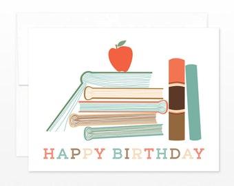 SALE Book Worm Birthday - Librarian, Teacher, Reader Birthday Greeting Card - avid reader card, book lover card, teacher card, coworker card