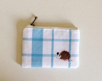mini zipper pouch  - blue check with a hedgehog applique