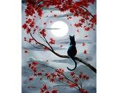 Black Cat Wall Art Moonlight Grey Gray Autumn Leaves Zen Tree Branch Moon Halloween Giclee Canvas Cat Print Pagan Wiccan Fine Art Print