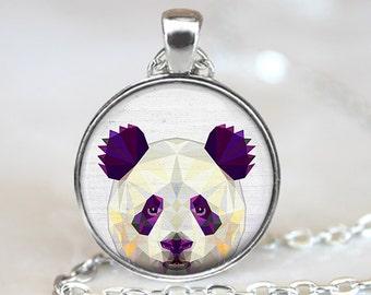 Panda Pendant, Geometric Panda Necklace, Panda Art Jewelry, Polygon Panda Pendant, Panda Jewelry, Panda Art Pendant, Bronze, Silver, 036