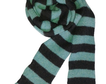 Skinny Felted Merino Lambswool Scarf in Spearmint and Chocolate - Brown & Green Striped