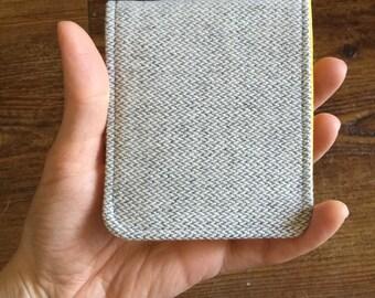 Mens Wallet / Super Thin Minimalist Billfold Wallet / Oatmeal Heather Herringbone Wool