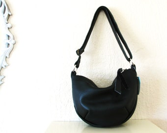Black Leather Hobo Zipper Bag