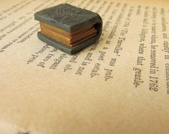 Book Bead Handmade Charm Polymer Clay Antique Look Chocolate Brown Pendant Bracelet Michele Gabriel