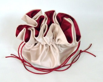 Dollar Dance Bag Wedding Pouch No Pockets Champagne with Dark Red Lining
