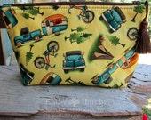 HaPPy Camper | Makeup Bag | Lined Zipper Bag | Camping Theme Fabric | Camper | Camping Bag | Small Gift Under 20 | Camera Accessory Bag