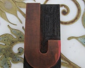 "Large 5"" Letter J Antique Letterpress Wood Type Printers Block"