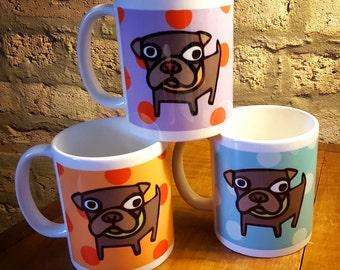 Set of 3 Pop Art Polka Dot Pug Mugs in Blue Orange and Purple