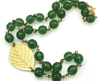 Green Leaf Necklace, Green Statement Necklace, Green Necklace, Gardener Gifts, Gifts For Green Thumbs, Green Nature Necklace, Leaf Necklace