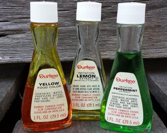 Vintage Durkee Extract and Food Color GLASS BOTTLES - 3 - Peppermint, Lemon, Yellow