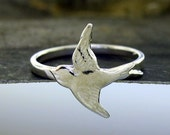Sparrow Ring, sterling silver or yellow bronze bird ring by Kathryn Riechert