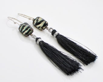 Black Tassel Earrings Wild Desires - Black Earrings - Fringe Earrings