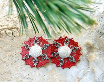Snowflake Earrings, Roses in the Snow Earrings, Red White and Silver Earrings, Christmas Earrings, Winter Jewelry, Holiday Jewelry, OOAK