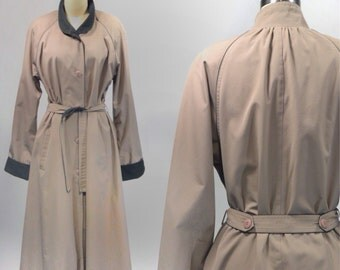 1980s Vintage Womens Taupe Trench Coat by Fleet Street Size 12 Medium