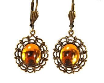 Vintage Inspired Earrings with Lace Filigree Framed Golden Topaz Glass Cabochons in Antiqued Brass Simple Design Prong Set