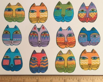 LAUREL BURCH Cats Fabric Fantasic Felines Faces PASTELS Rare 12 Ready to Iron Appliques