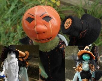 Halloween Decoration, Halloween Sculpture, Art Dolls, Ghost trio Fall Decoration